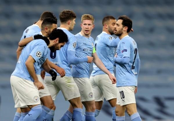 Comemoração de gol do Manchester City. Foto: Getty Images
