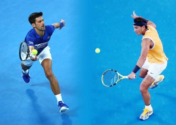 Djokovic y Nadal en disputa sobre el terreno.  Foto: Getty Images